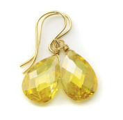 14k Gold Canary Yellow Cubic Zirconia Earrings Gf Teardrop Cz AAA