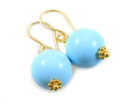 14k Gf Gold Turquoise Blue Earrings Smooth Dangle Round Drop