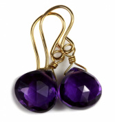 14k Gold African Purple Amethyst Earrings Gf Heart Briolette