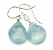 Sterling Silver Chalcedony Earrings Soft Blue Faceted Heart Teardrops Dangles