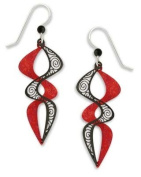 Adajio by Sienna Sky Ruby and Black Filigree Paired Double Helix Earrings 7417