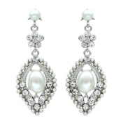 Goddess Chandelier White Pearl and Clear Crystal Earring - Bridal Wedding Jewellery