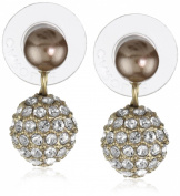 """Carolee """"Gold Pearl Basics"""" Simulated Pearl and Pave Drop Earrings"""