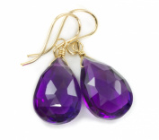 14k Gold African Purple Amethyst Earrings Gf Teardrop Dangle