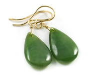14k Gold Green Nephrite Jade Earrings Natural Teardrop Smooth AAA Natural