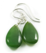 Sterling Silver Green Nephrite Jade Earrings Natural Teardrop Smooth AAA Natural