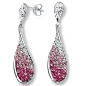 Sterling Silver Tear Drop Crystal Dangle Earrings with Pink and White. Elements