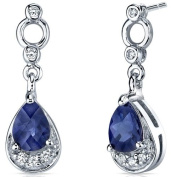 Simply Classy 2.00 Carats Blue Sapphire Dangle Earrings in Sterling Silver Rhodium Finish