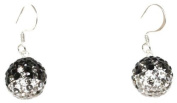 DECORUM JEWELLERY black ,clear and grey. crystal ball shaped drop earrings.Made with solid sterling silver 925.