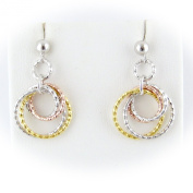 Tri-colour Rose, Yellow Gold Plated Rings Sterling Silver Diamond Cut Ball Nickel Free Earrings Italy