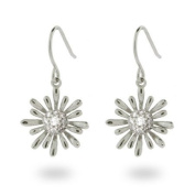 Sterling Silver Pave CZ Daisy Dangle Earrings