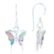 925 Sterling Silver Multi-Coloured Mother of Pearl Shell Butterfly Dangle Hook Earrings Fashion Jewellery for Women, Teens, Girls - Nickel Free