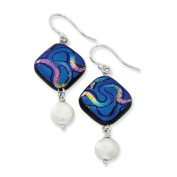 Sterling Silver Blue Dichroic Glass w/ FW Cultured Pearl Dangle Earrings