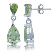 3.46ct. Natural Green Amethyst & Peridot 925 Sterling Silver Dangle Earrings