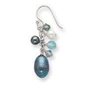 Sterling Silver Blue Crystals Peacock White Pearl Earrings - JewelryWeb