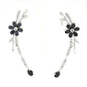 Charming Blossom Earrings w/Black & White CZs