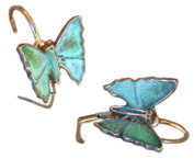 Verdigris Patina Solid Brass Contemporary Butterfly Earrings