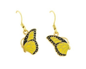 Elegantly designed side view butterfly french wire earrings