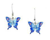 Silver Plated Wired Butterfly Earrings With Blue and Pink Hand Enamelling