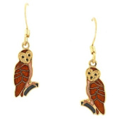 Hand enamelled brown owl french wire earrings
