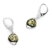 Sterling silver and green amber, round-shaped dangle earrings