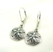 Small Sand Dollar Sterling Silver Charm Leverback Earrings Ocean Beach Theme Jewellery