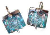 Verdigris Patina Solid Brass Sea Turtle Earrings