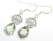 925 Sterling Silver NATURAL GREEN AMETHYST Earrings, 4.1cm , 5.52g