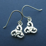 Silver Small Celtic Tribal Spiral Drop Irish Earrings