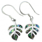 925 Silver Abalone Paua Shell Monstera Dangle Earrings Hawaiian Silver Jewellery