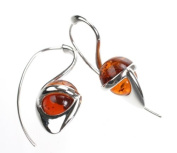 Sterling Silver and Baltic Sea Cognac Amber Earrings