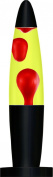Black Base Peace Motion Lamp with Red Wax in Yellow Liquid