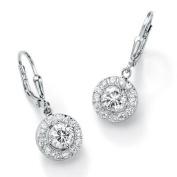 Sterling Silver Diamond Ultra Cubic Zirconia Drop Pierced Earrings