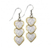 """Montana Silversmiths """"Triple Hearts of Silver and Gold"""" Dangle Earrings"""