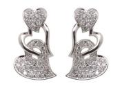 Triple Heart Drop Earrings W/white Czs