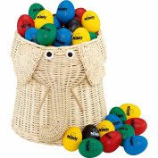 Meinl NINO Plastic Egg Shaker Assortment of 80 Pieces with Basket