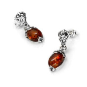 Sterling silver and cognac amber, oval-shaped earrings