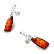 Sterling silver and baguette-shaped, cognac amber earrings