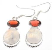 925 Sterling Silver RAINBOW MOONSTONE, RED GARNET Earrings, 3.8cm , 6.86g
