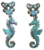 Verdigris Patina Solid Brass Seahorse Dangle Earrings - Pacific Opal. Crystals