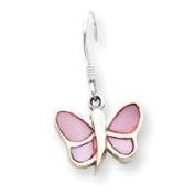 Sterling Silver Pink Shell Butterfly Earrings - JewelryWeb