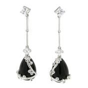 Vintage Dangle Earrings W/black Onyx & White CZs