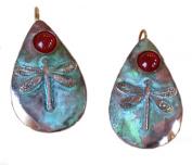 Verdigris Patina Solid Brass Dragonfly Teardrop Earrings - Carnelian