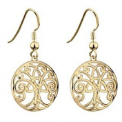 Gold Plated Tree of Life Drop Earrings-Made in Ireland