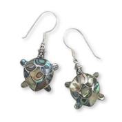 Bali Turtle Earrings Paua Shell Sterling Silver