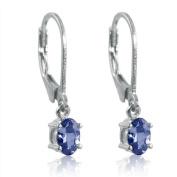 Genuine Tanzanite Lever-Back Earrings in Sterling Silver