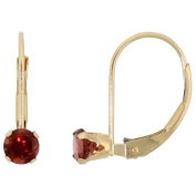 10k Yellow Gold Natural Garnet Leverback Earrings 4mm Brilliant Cut January Birthstone, 9/16 inch tall