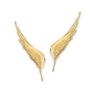The Ear Pin Gold Over Sterling Silver Whispering Angel Wings Earrings