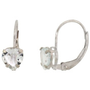 10k White Gold Natural Aquamarine Leverback Heart Earrings 6mm March Birthstone, 9/16 inch tall