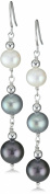 "Honora ""Tuxedo"" Freshwater Cultured Pearl Line Earrings"